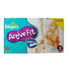 Pampers - 81223459 - Active Fit Couches - Taille 3 Midi (4-9 kg) Gigapack x168