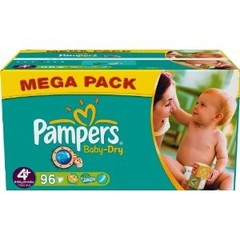 Couches Baby Dry mega + PAMPERS, taille 4, 96 unites