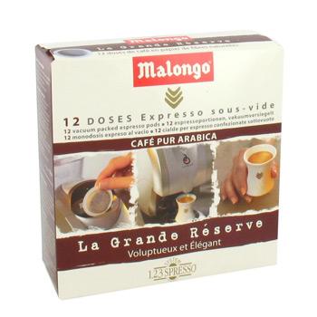 malongo doses de cafe expresso pur arabica les 12 doses 78g tous les produits caf s en. Black Bedroom Furniture Sets. Home Design Ideas