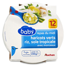 Auchan baby repas midi haricots sole tropicale 230g 12 mois