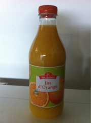 Jus de fruit pur jus d'orange la bouteille,1l