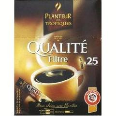 Qualite filtre, l'instant cafe, cafe soluble lyophilise, x25 sticks, la boite, 50g