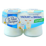 Yaourt leger pur brebis nature LE PETIT BASQUE, 3%MG, 2x125g