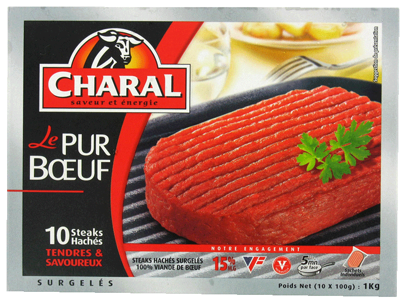 10 Steaks haches Le Pur Boeuf CHARAL, 15% MG, 1kg