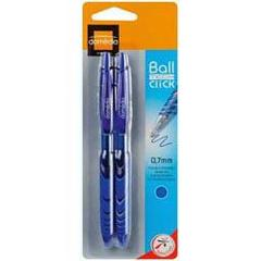 Stylo bille retractable Ball Tech Click 0,7mm - bleu, les 2 stylos