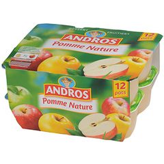 Compotes pomme nature Andros 12x100g