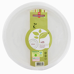 Assiettes biodegradables Dessert ronde 23 cm x25