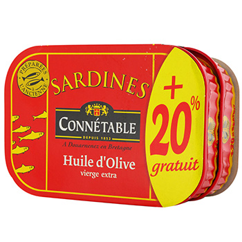 sardines a l'huile d'olive x2 connetable 276g