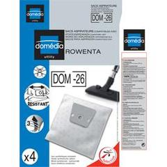 Sacs aspirateurs DOM-26 compatibles Rowenta, le lot de 4 sacs synthetiques resistants