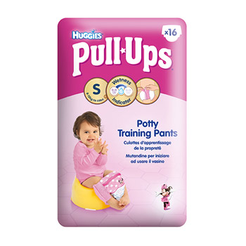 Huggies pull-ups, Couche culotte taille s/4 girl (8-15 kg), pack de 16 culottes
