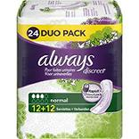 Serviettes pour incontinence normal ALWAYS, duo pack, 24 unités