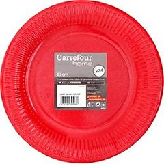Assiettes carton 23 cm rouge Carrefour Home