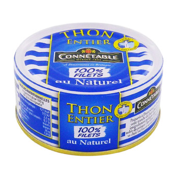thon entier 100% filets au naturel connetable 160g
