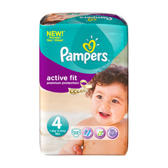 Pampers, Couches active fit, taille 4 : 7-18 kg, le paquet de 22
