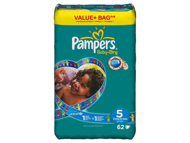 Couches PAMPERS Baby Dry junior taille 5, 11 a 25kg, 62 unites