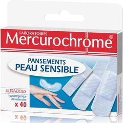Pansements peau sensible MERCUROCHROME, 40 unites