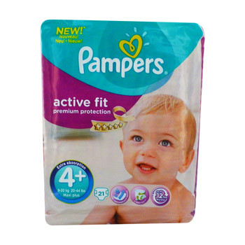 couches active fit x21 taille 4 + pampers