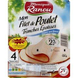 Monique Ranou, Mon Filet de Poulet dore au four, tranches epaisses, le paquet de 4 tranches - 120 g