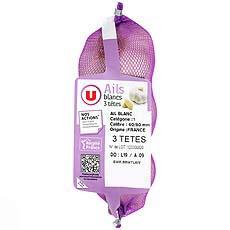 Ail blanc, U, calibre 50/70, France, filet 250g