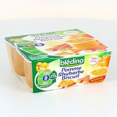 Bledina coupelles fruits pomme rhubarbe biscuit 4 x 100 g des 8 mois