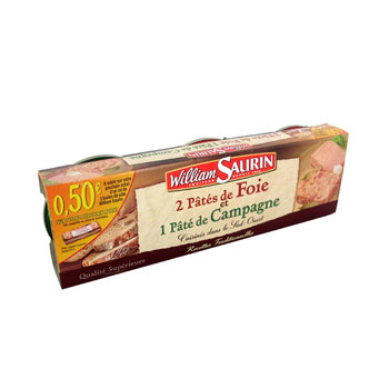 Assortiment de pates de foie et de campagne WILLIAM SAURIN, 3x78g