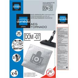Sacs aspirateurs DOM-07 compatibles AEG, Tornado, le lot de 4 sacs synthetiques resistants
