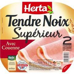 Jambon avec couenne Tendre Noix HERTA, 2 tranches, 80g