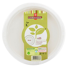 Assiettes rondes Gourmandine Dessert 18cm biodegradable x25