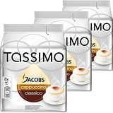 Tassimo Jacobs Cappuccino, Rainforest Alliance Vérifié, Lot de 3, 3 x 16 T-Discs (8 Portions)