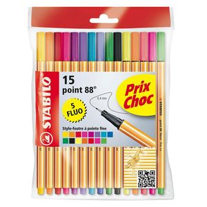 10 Stylos feutre Point 88 STABILO + 5 fluo