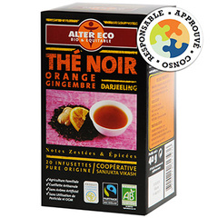 Alter Eco, The noir BIO de Darjeeling orange gingembre, la boite de 20 infusettes - 40 g