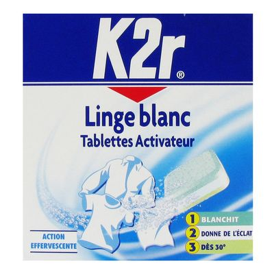 Tablettes activateur linge blanc, action effervescente