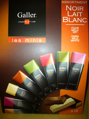 Galler chocolats mini batonsblanc lait noir pocketbag 180g