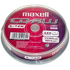 CD-RW MAXELL 80MN X10-REINSCRIPTIBLE-BOITIER CAKE BOX