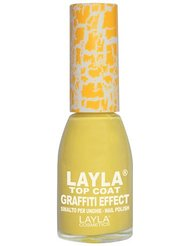 Layla Cosmetics Milano Vernis à Ongles Top Coat Graffiti Crack Effet Yellow 10 ml