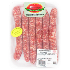 Chipolatas nature PIVETEAU, 6 pieces, 420g
