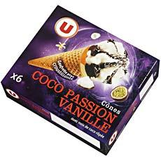 Cones glaces vanille, coco, passion U, 6x110ml