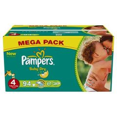 Pampers, Couches baby-dry, taille 4 : 7-18 kg, le carton de 94