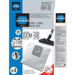 Sacs aspirateurs DOM-03 compatibles Ide Line, Solac, le lot de 4 sacs synthetiques resistants