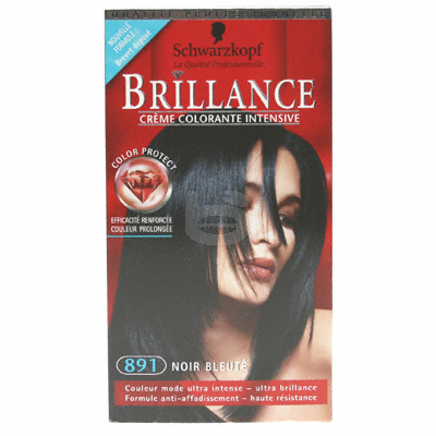Coloration creme permanente BRILLANCE, noir bleute n°891