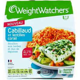 Weight Watchers cabillaud lentille corail 280g