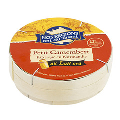 Fromage Petit Camembert 22%mg Nos regions ont du talent 150g