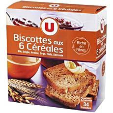 Biscottes aux 6 cereales U, 34 tranches, 300g