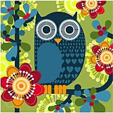 SERVIETTE 3 PLIS OWL GREEN HAPPY PAPER 33X33CM X20