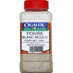 Restauration, poivre blanc moulu, le pot,500g