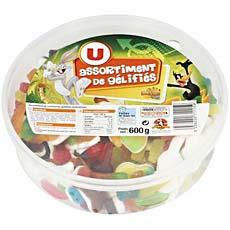 Assortiment de bonbons gelifiees U, 600g