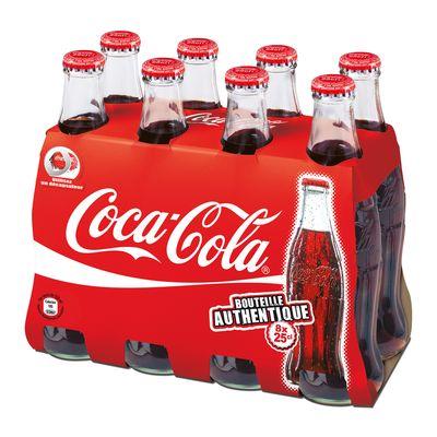 coca cola standard bouteille en verre 8x25cl tous les produits sodas au cola prixing. Black Bedroom Furniture Sets. Home Design Ideas