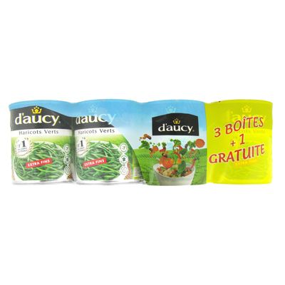 Haricots verts extra fins Daucy 3x440g
