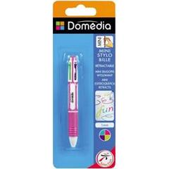Domedia, Mini stylo bille retractable 4 couleurs fantaisies, le stylo
