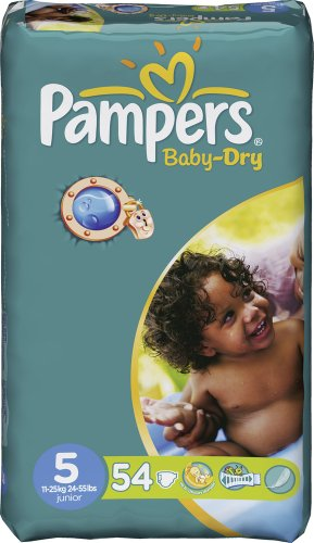 Couches Baby Dry PAMPERS, taille 5, 11 a 25kg, 54 unites